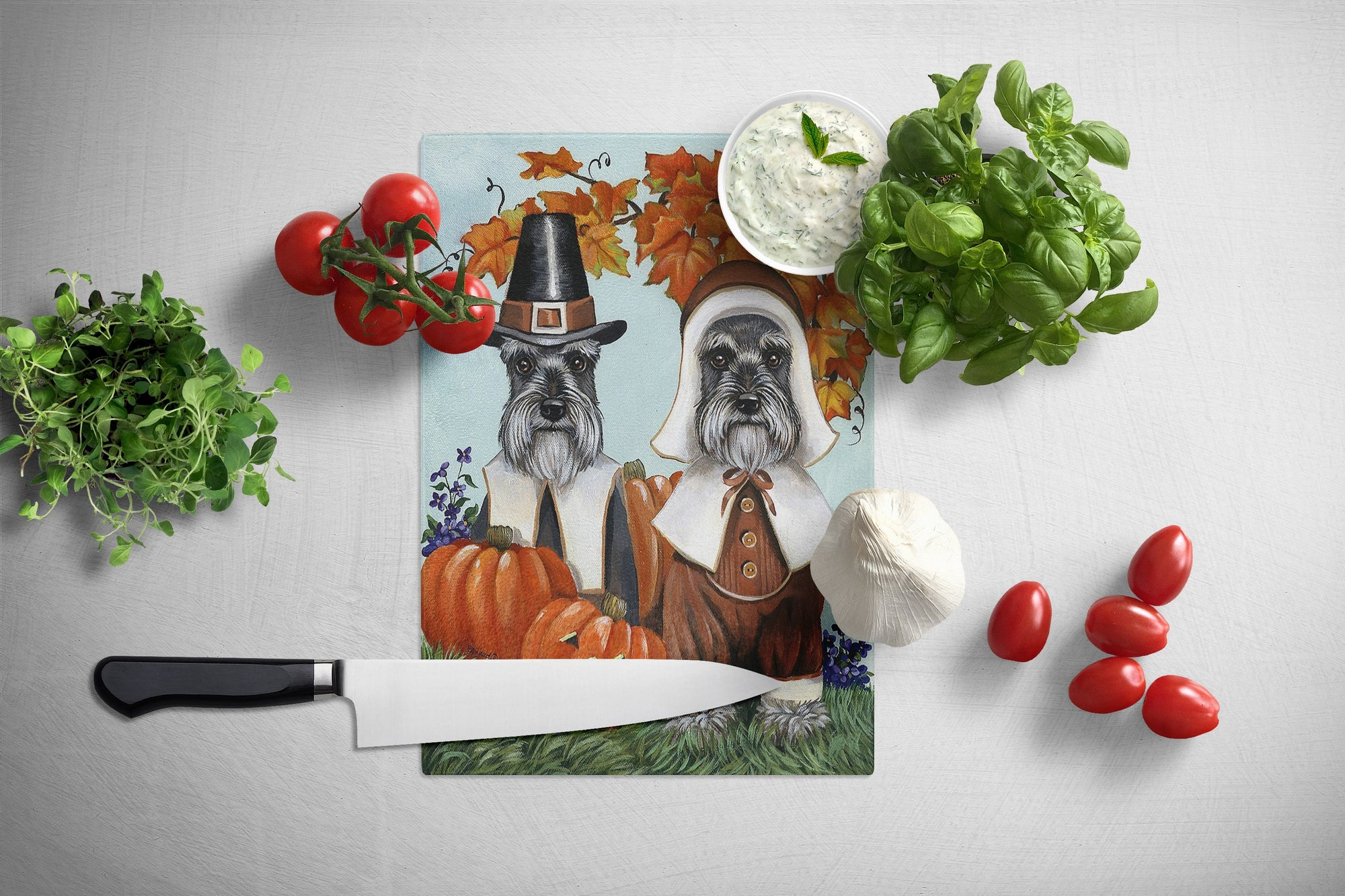 Schnauzer Thanksgiving Pilgrims Glass Cutting Board Large PPP3167LCB by Caroline's Treasures