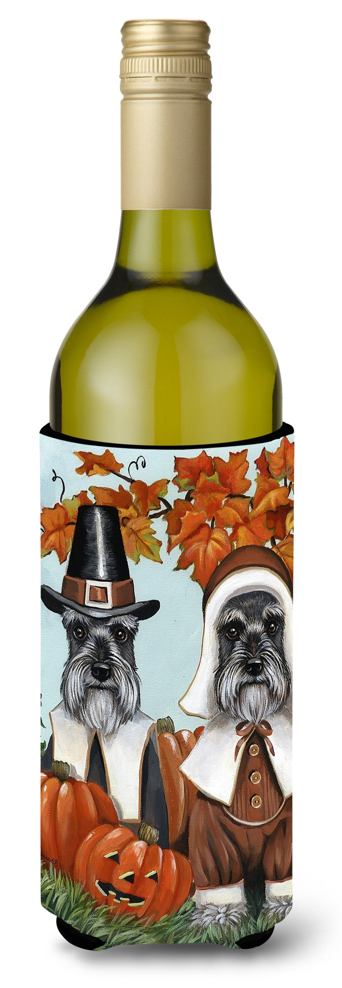 Schnauzer Thanksgiving Pilgrims Wine Bottle Hugger PPP3167LITERK by Caroline's Treasures