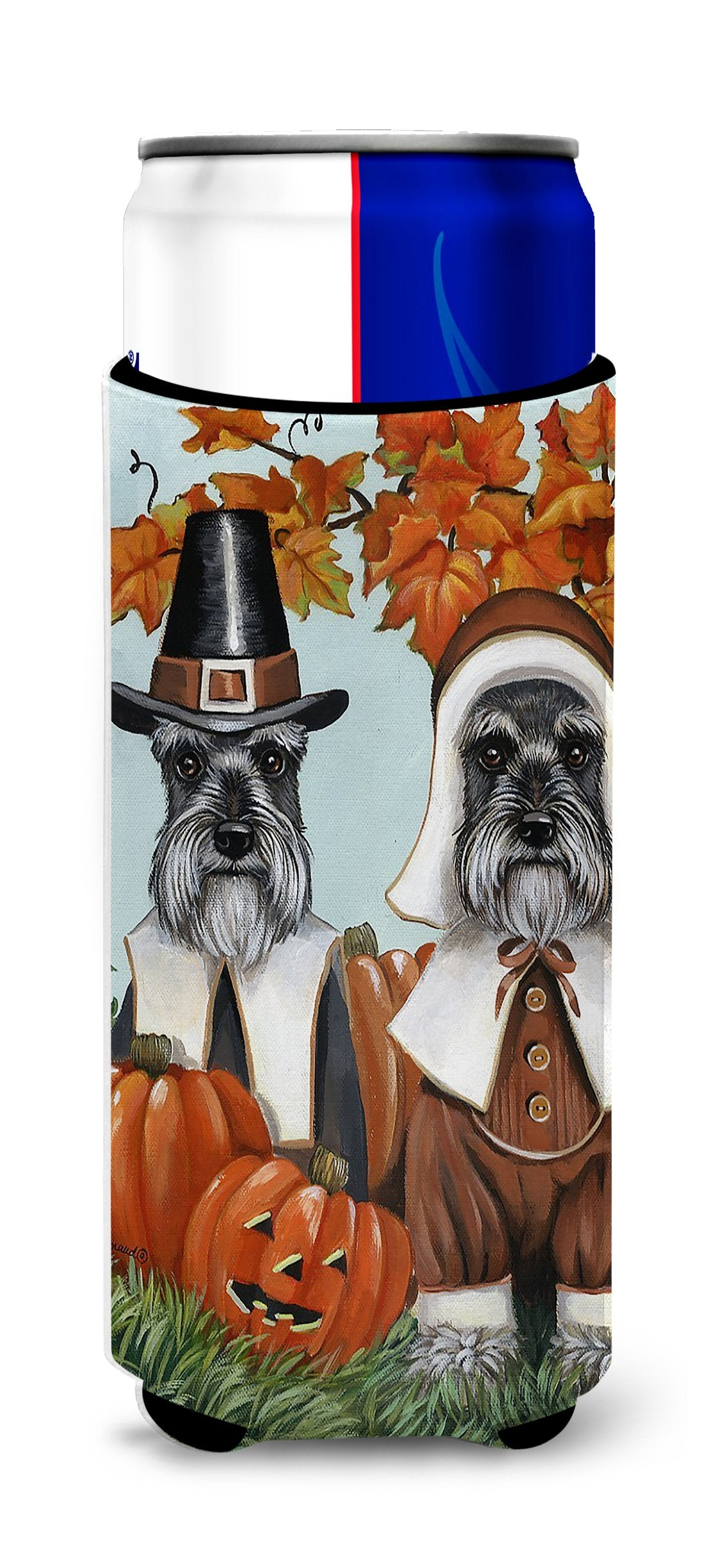 Schnauzer Thanksgiving Pilgrims Ultra Hugger for slim cans PPP3167MUK by Caroline's Treasures