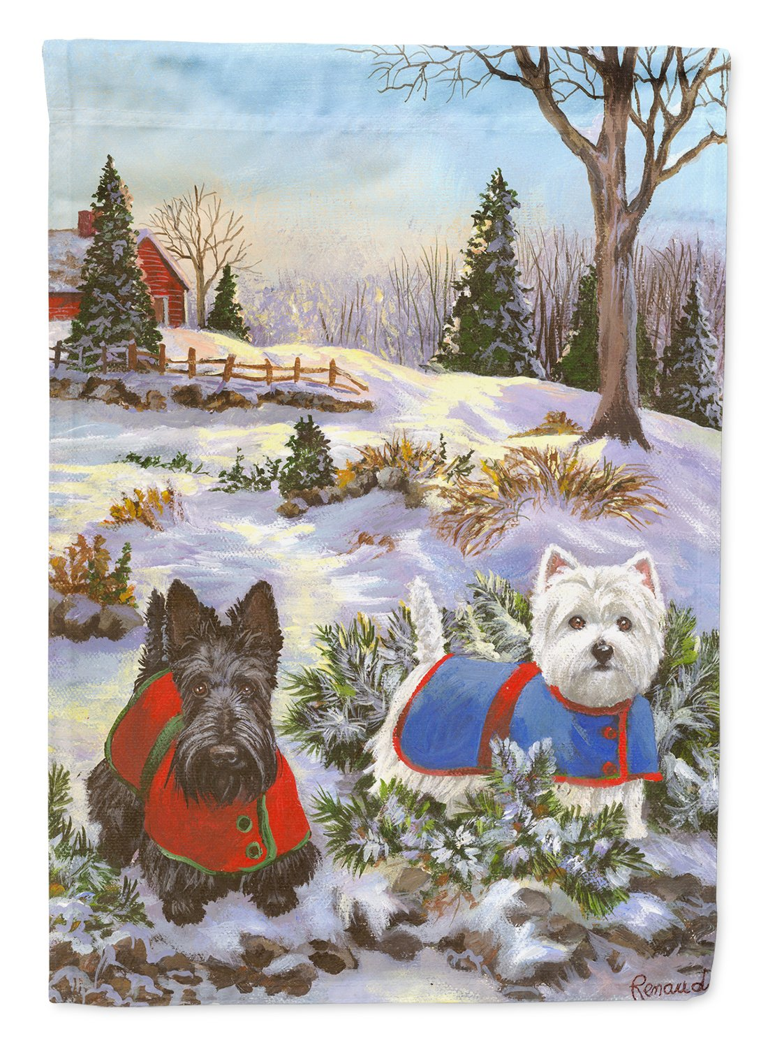 Buy this Scottie and Westie Christmas Pine Hill Flag Garden Size PPP3170GF