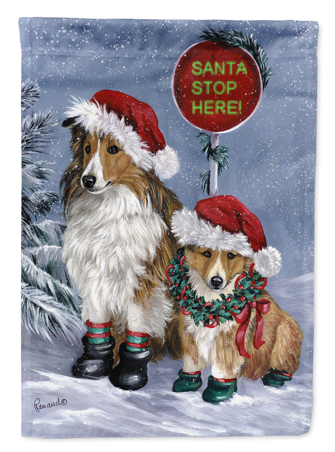 Buy this Sheltie Christmas Santa Stop Flag Canvas House Size PPP3188CHF