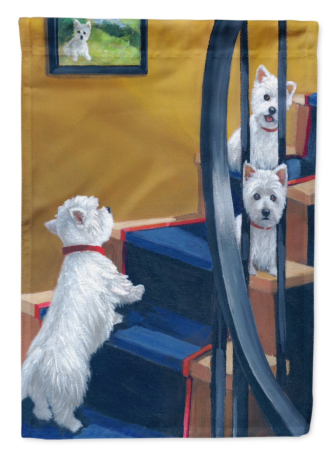 Buy this Westie Going Up Flag Garden Size PPP3204GF