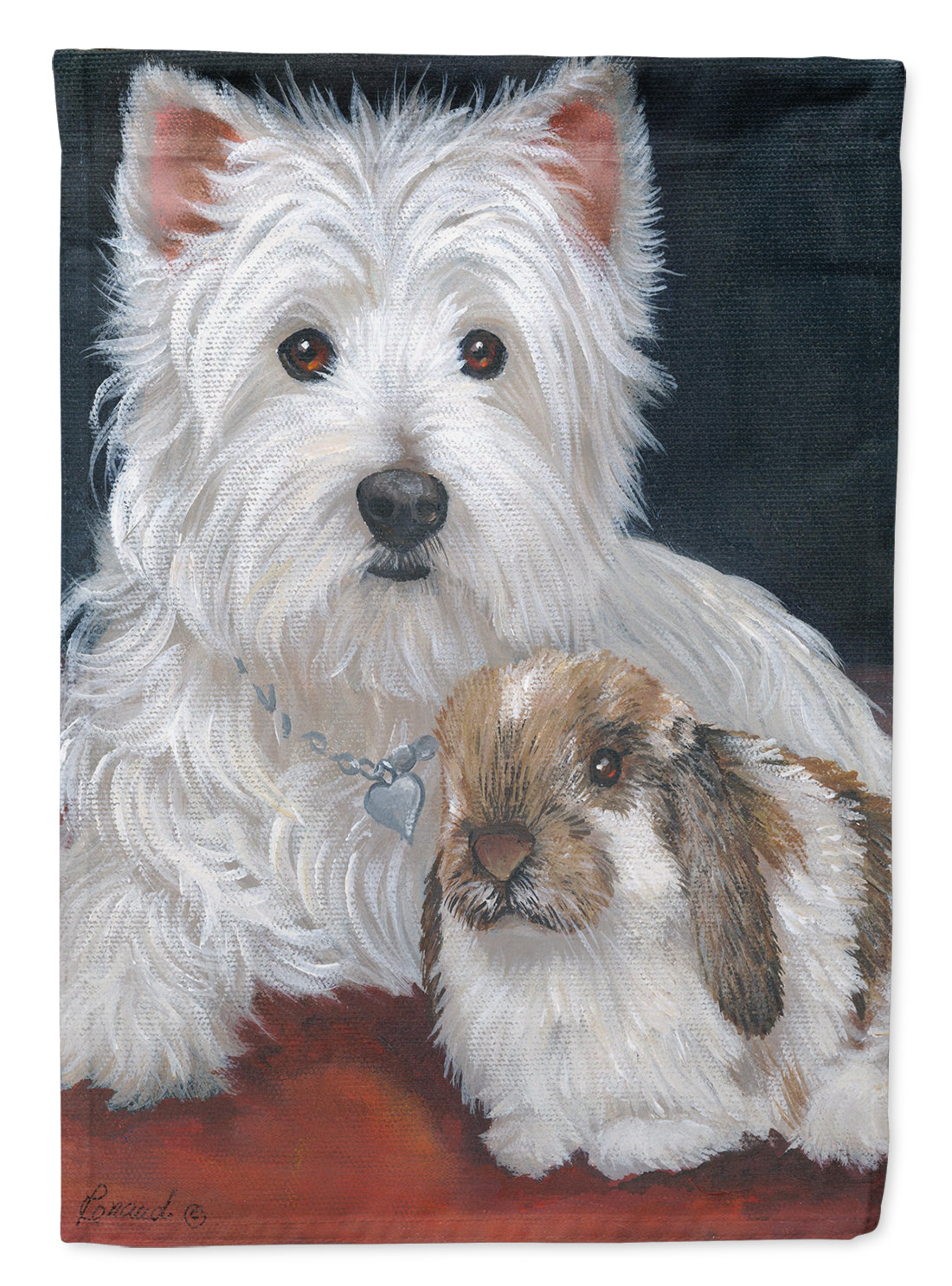 Buy this Westie Rabbit Harmony Flag Canvas House Size PPP3207CHF