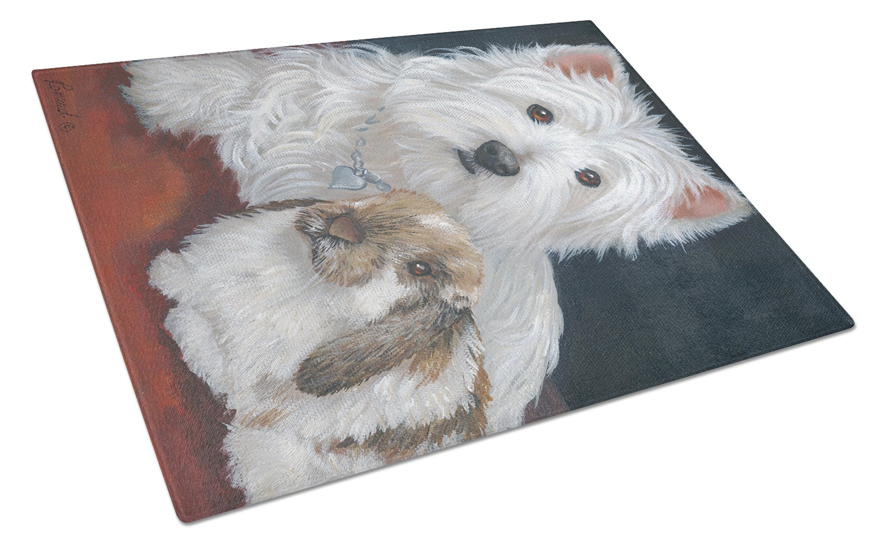 Westie Rabbit Harmony Glass Cutting Board Large PPP3207LCB by Caroline's Treasures