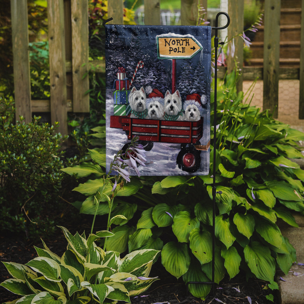 Westie Christmas Red Wagon Flag Garden Size PPP3227GF - the-store.com