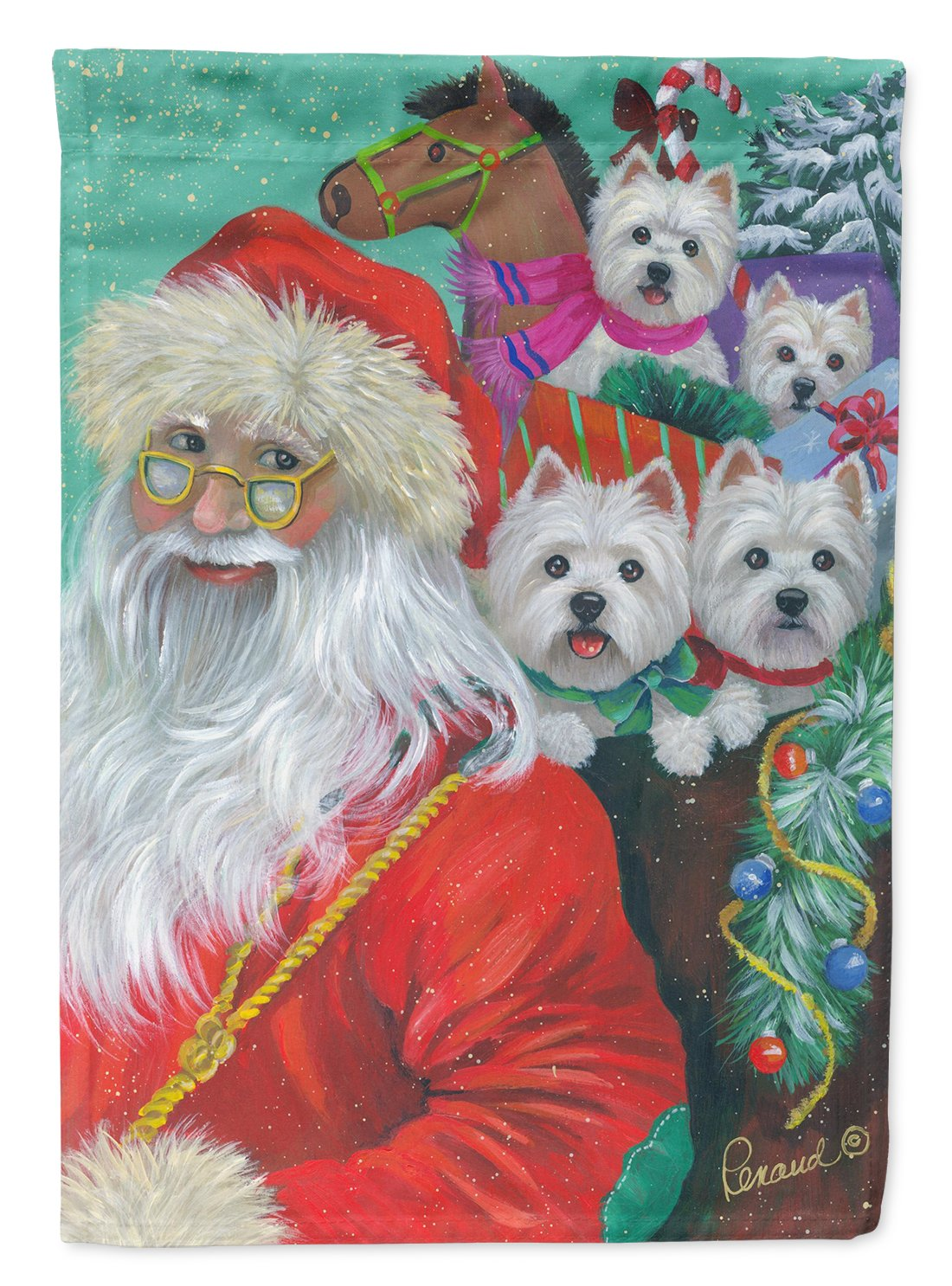Buy this Westie Christmas Santa's Westies Flag Garden Size PPP3229GF