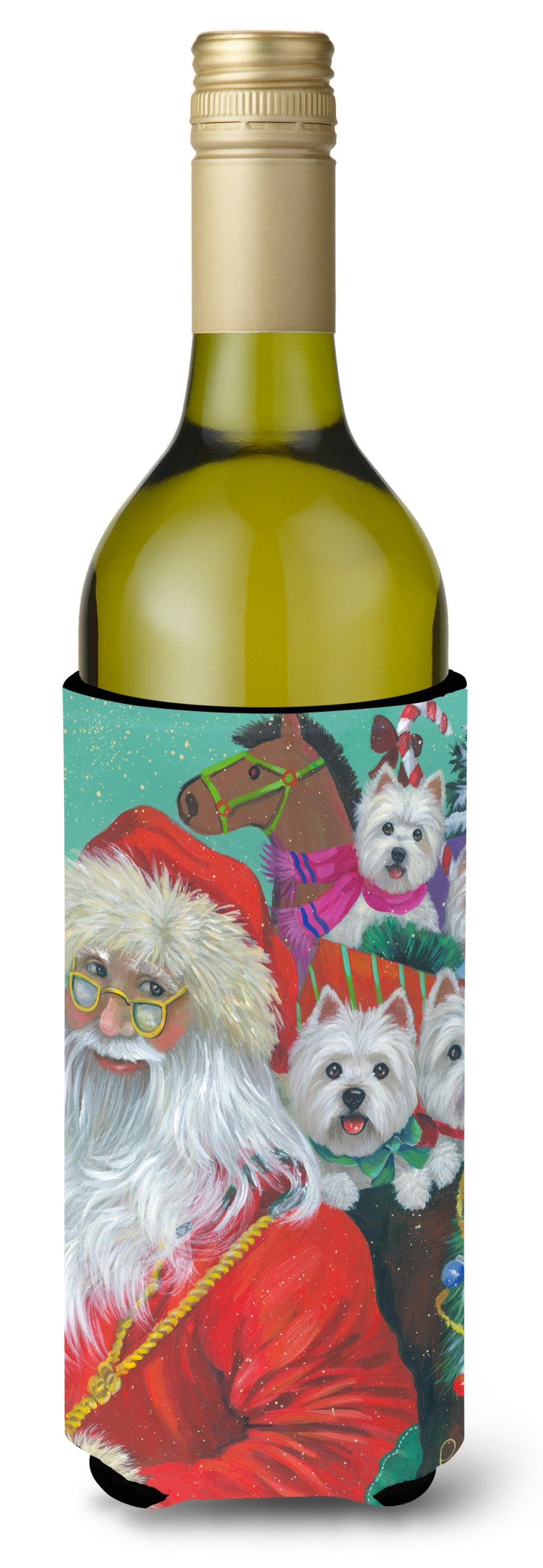 Westie Christmas Santa's Westies Wine Bottle Hugger PPP3229LITERK by Caroline's Treasures