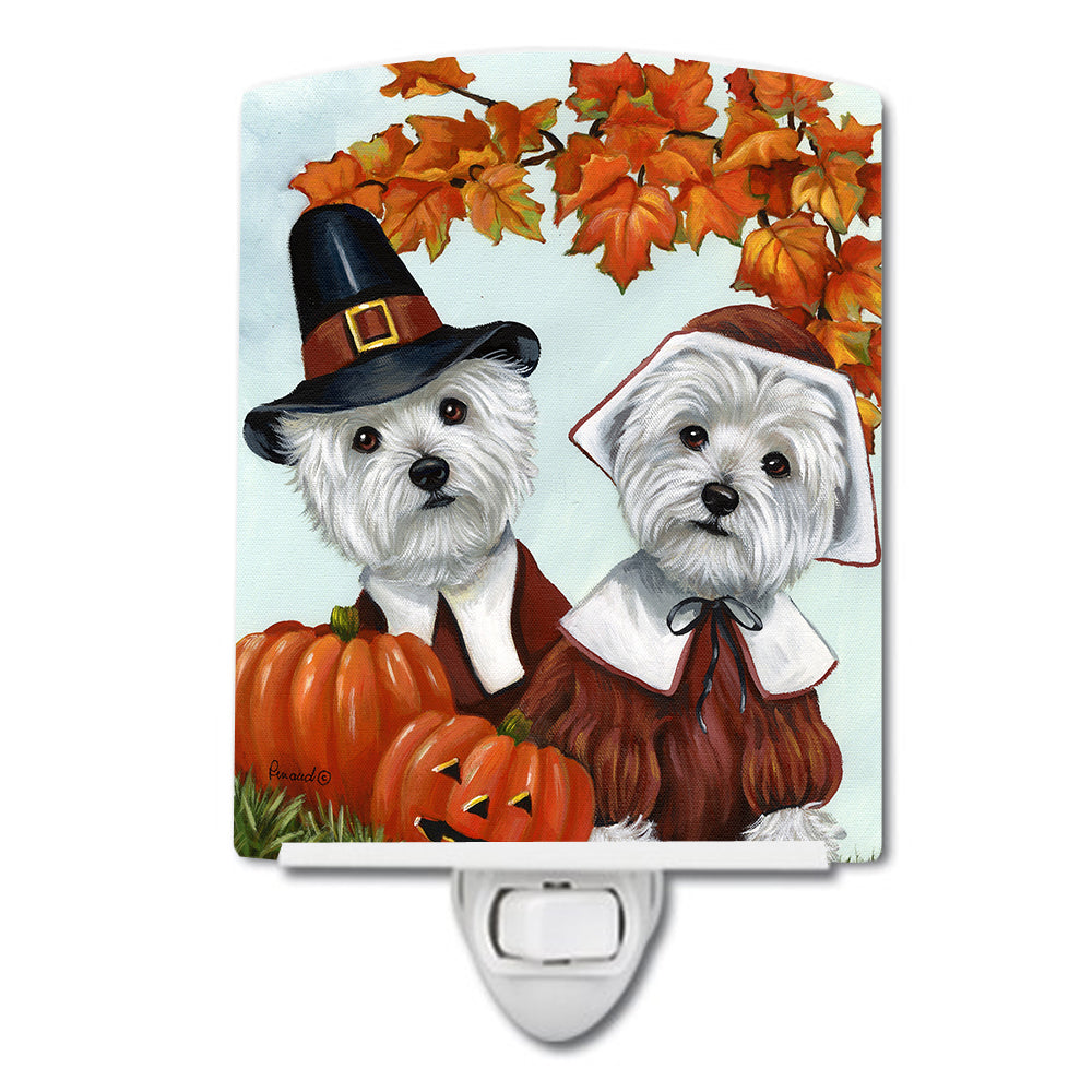 Westie Thanksgiving Pilgrims Ceramic Night Light PPP3235CNL by Caroline's Treasures