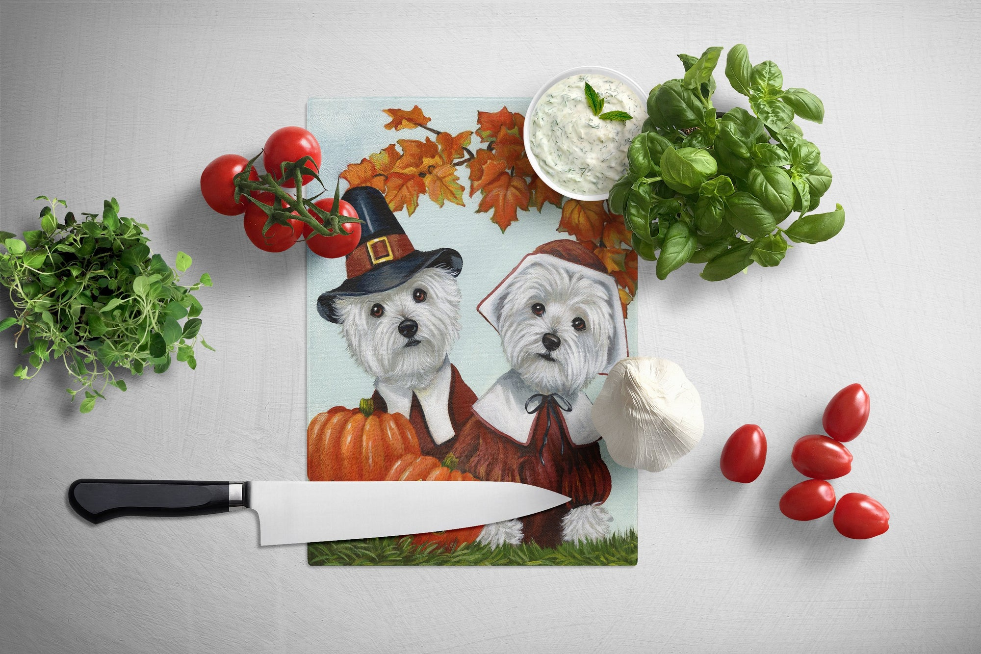 Westie Thanksgiving Pilgrims Glass Cutting Board Large PPP3235LCB by Caroline's Treasures