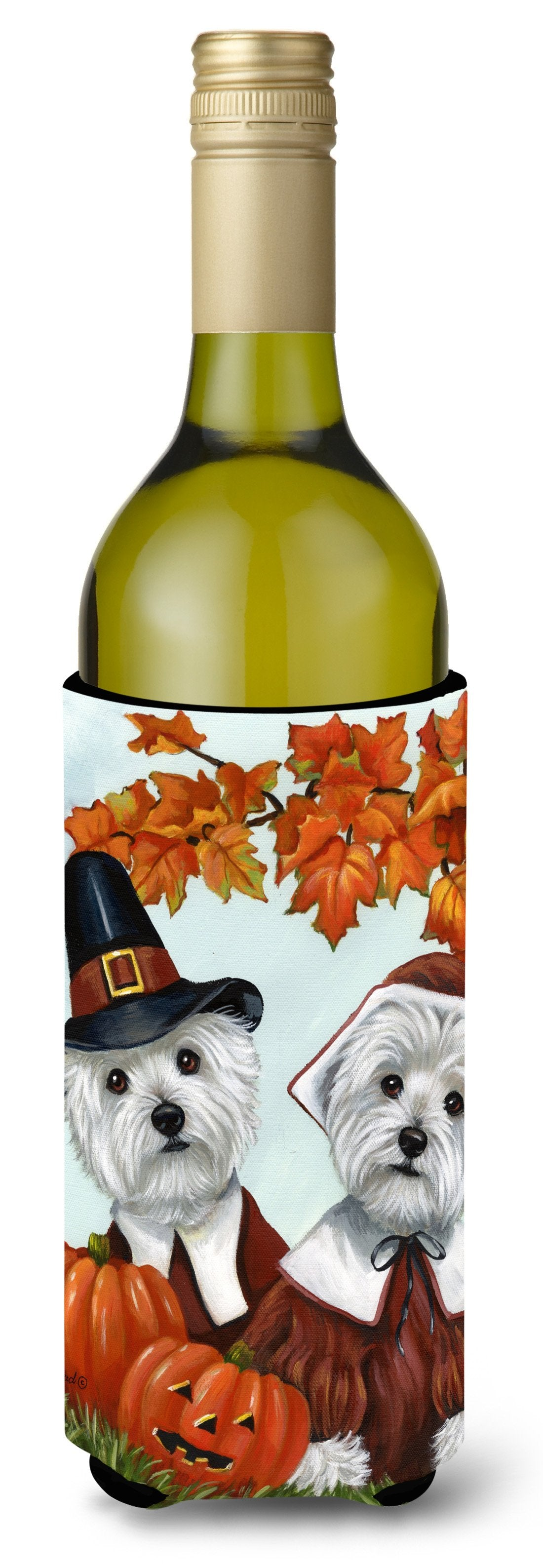 Westie Thanksgiving Pilgrims Wine Bottle Hugger PPP3235LITERK by Caroline's Treasures