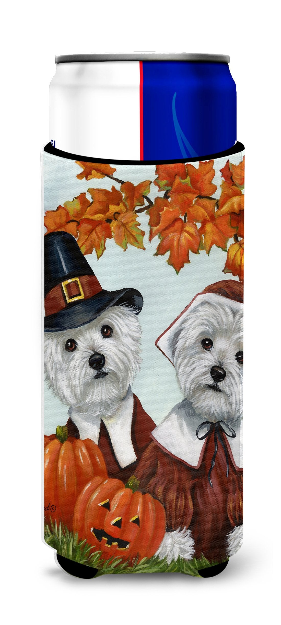 Westie Thanksgiving Pilgrims Ultra Hugger for slim cans PPP3235MUK by Caroline's Treasures