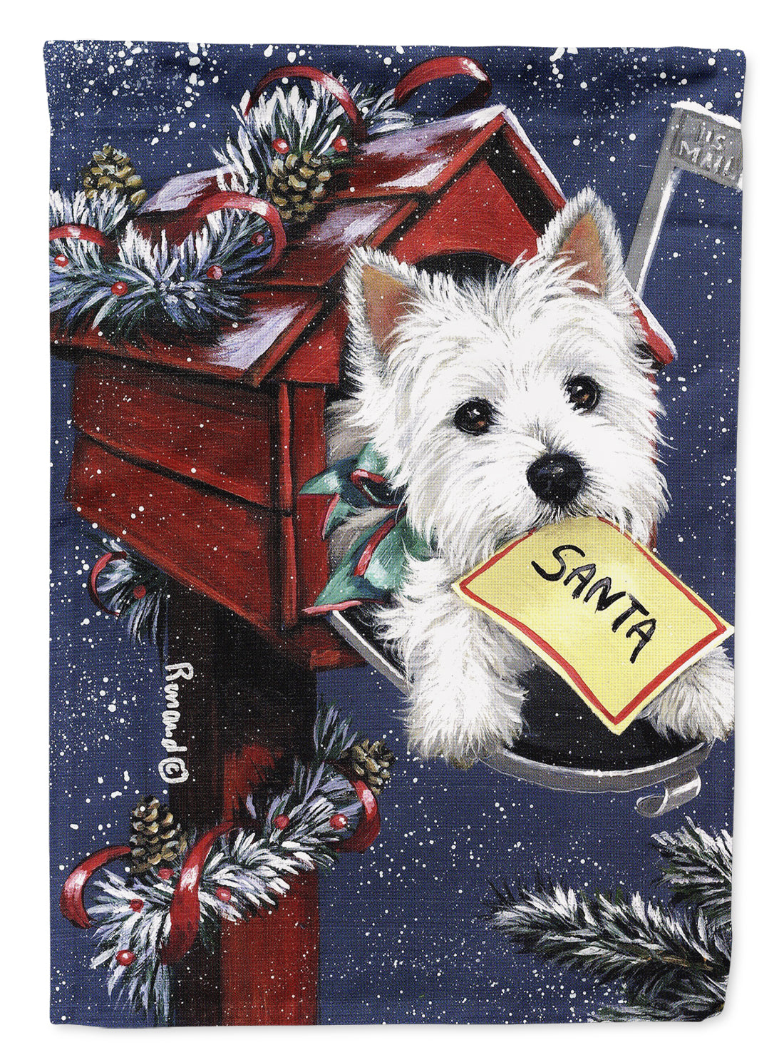 Buy this Westie Zoe's Christmas List Flag Canvas House Size PPP3237CHF