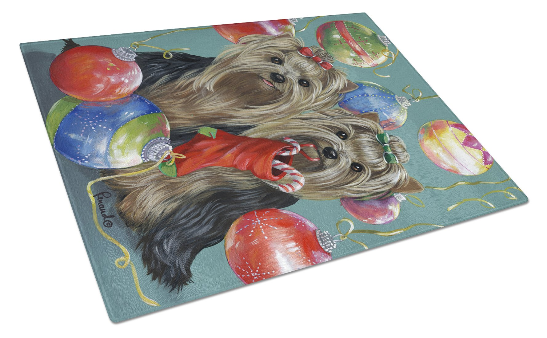 Yorkie Christmas All that Glitters Glass Cutting Board Large PPP3239LCB by Caroline's Treasures