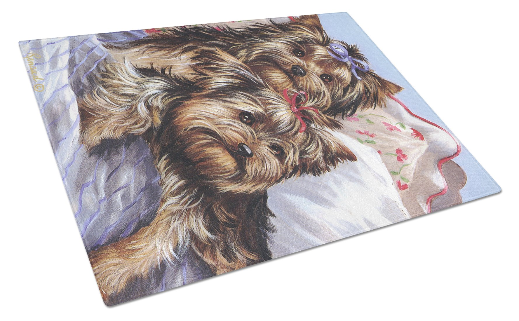 Yorkie Bed Bugs Glass Cutting Board Large PPP3240LCB by Caroline's Treasures