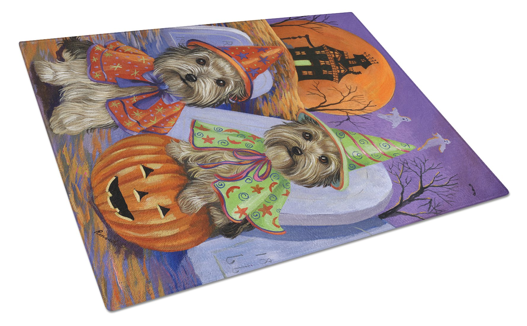 Yorkie Halloween Haunted House Glass Cutting Board Large PPP3241LCB by Caroline's Treasures