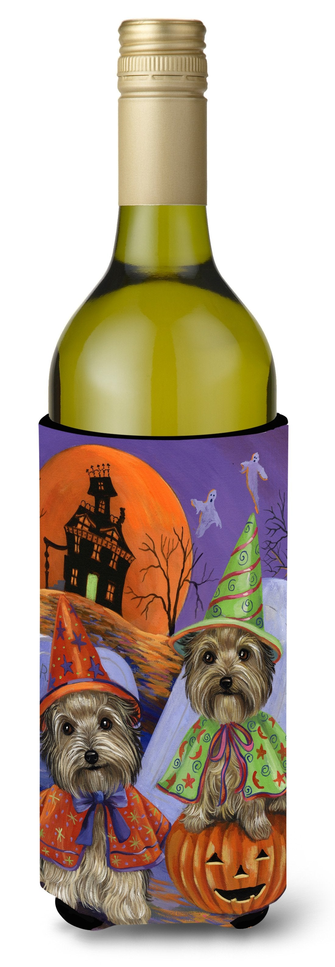 Yorkie Halloween Haunted House Wine Bottle Hugger PPP3241LITERK by Caroline's Treasures