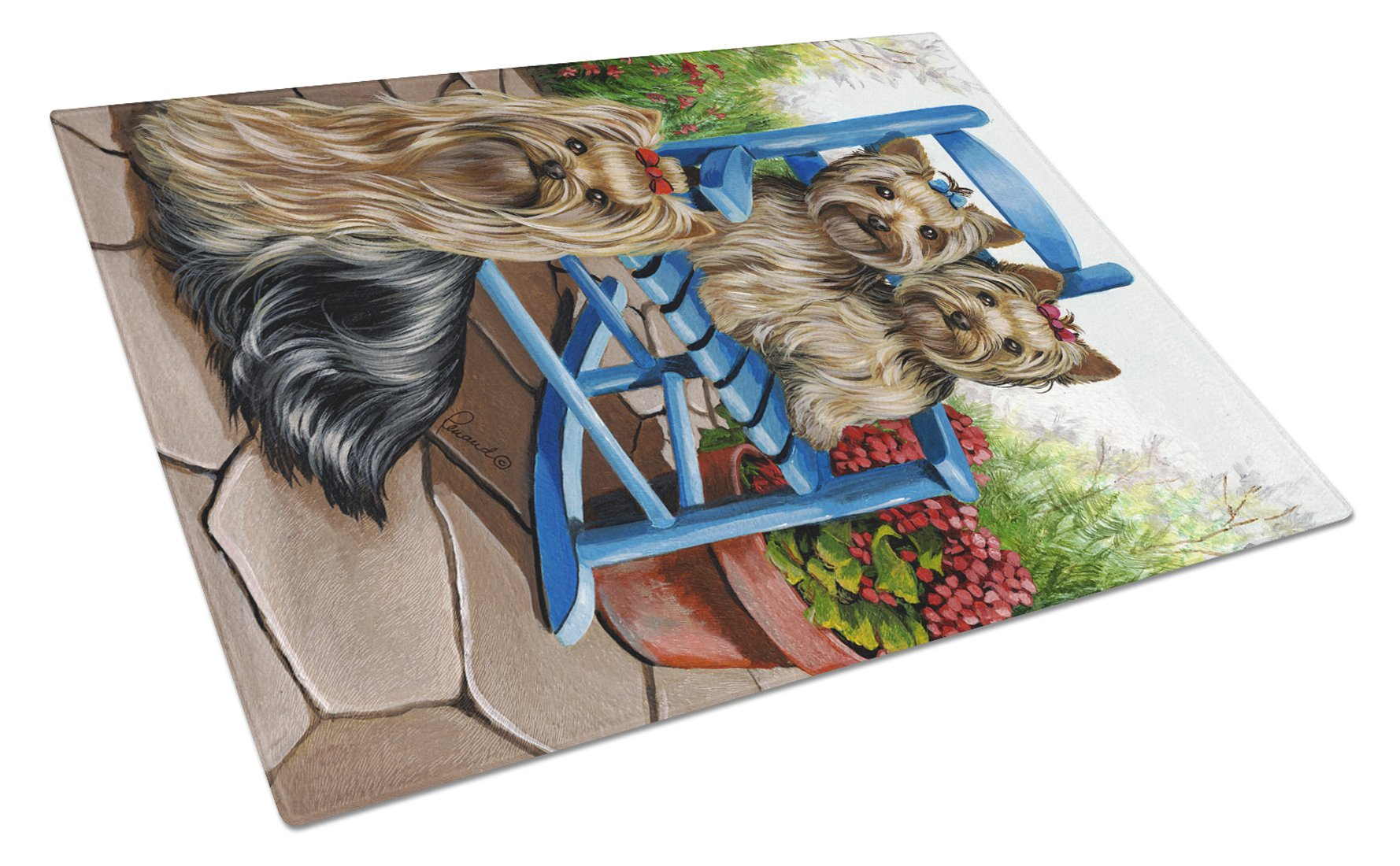 Yorkie Patio Sweethearts Glass Cutting Board Large PPP3242LCB by Caroline's Treasures