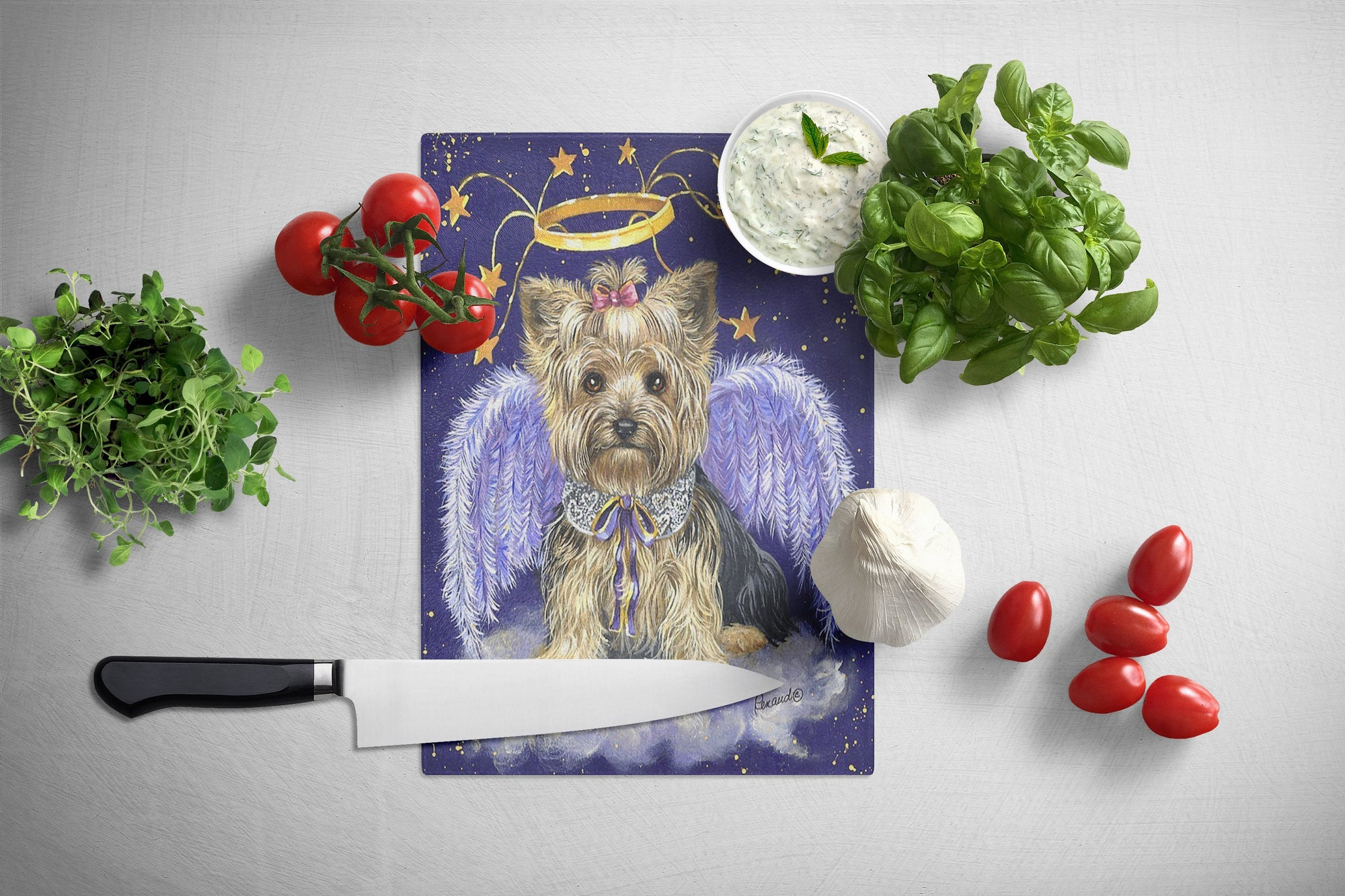 Yorkie Christmas Angel Glass Cutting Board Large PPP3243LCB by Caroline's Treasures