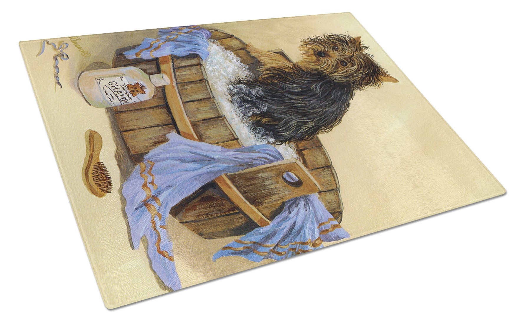 Yorkie Bath Time Glass Cutting Board Large PPP3244LCB by Caroline's Treasures