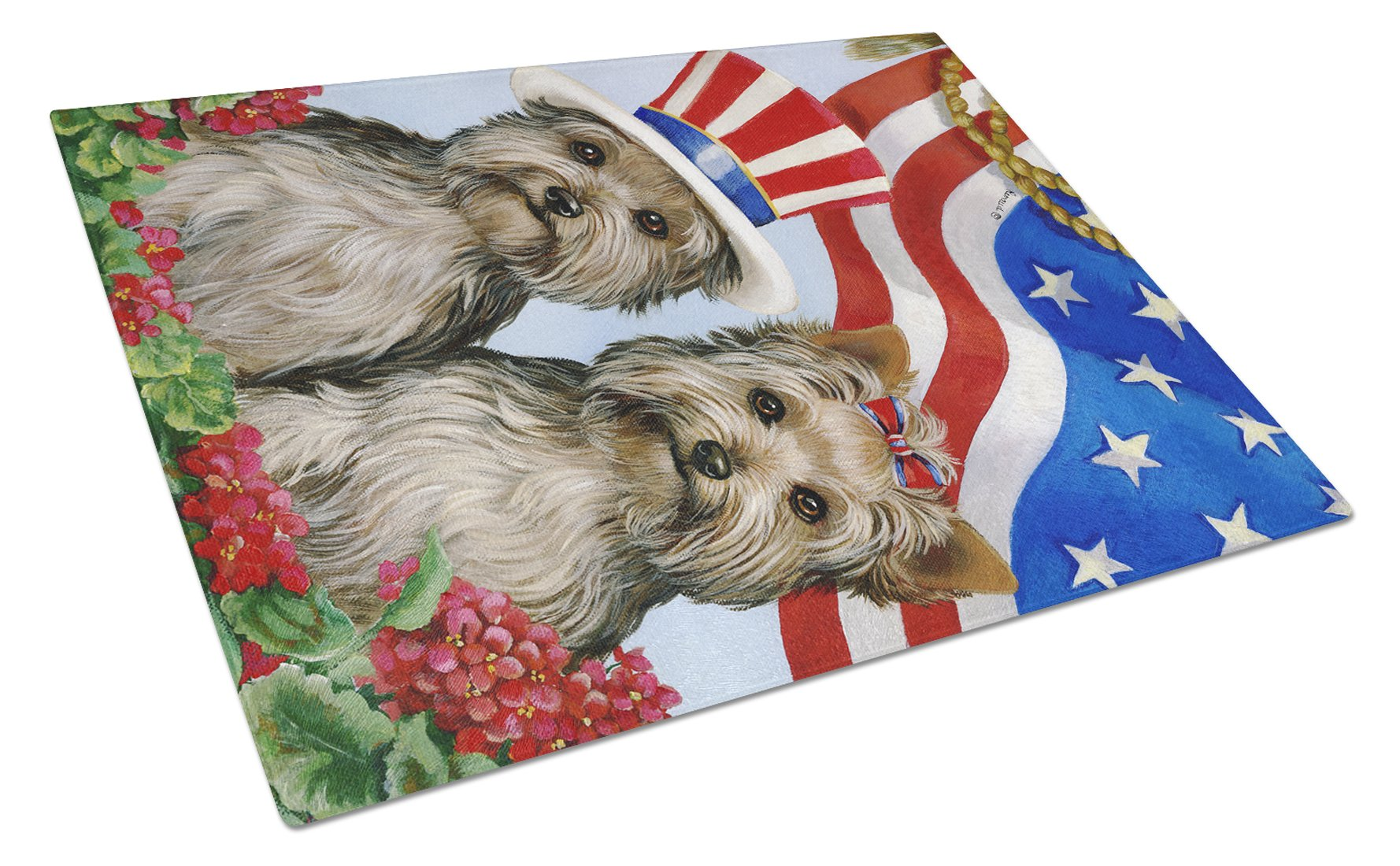 Yorkie USA Glass Cutting Board Large PPP3245LCB by Caroline's Treasures