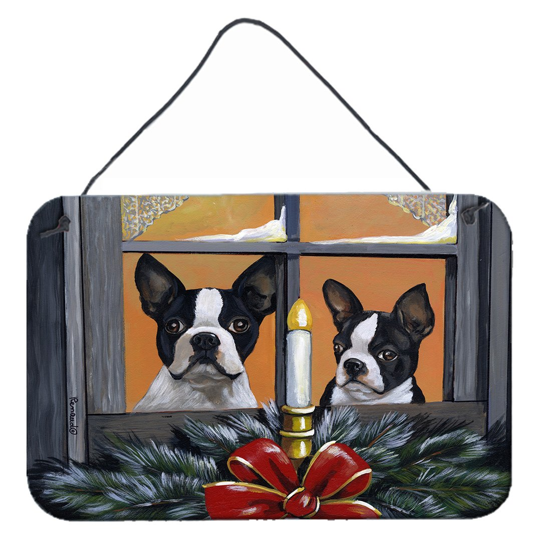 Buy this Boston Terrier Looking for Santa Christmas Wall or Door Hanging Prints PPP3248DS812