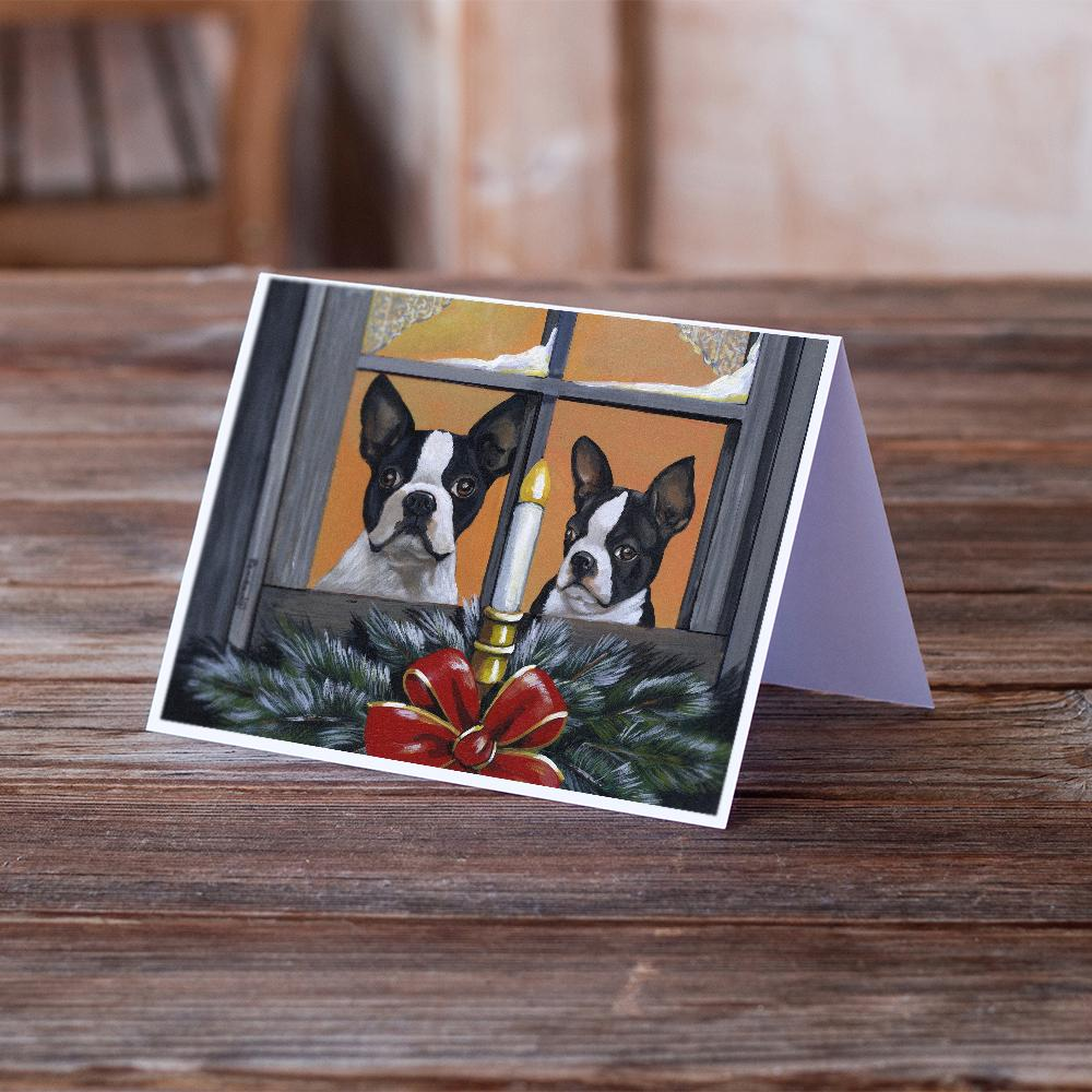 Buy this Boston Terrier Looking for Santa Christmas Greeting Cards and Envelopes Pack of 8