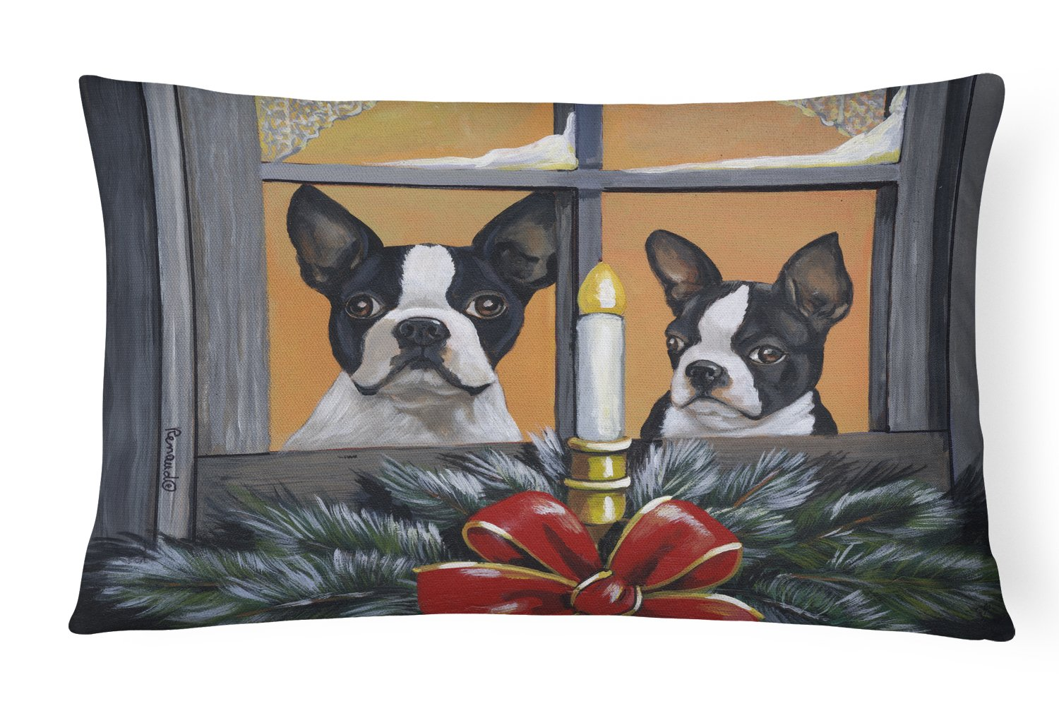 Buy this Boston Terrier Looking for Santa Christmas Canvas Fabric Decorative Pillow PPP3248PW1216