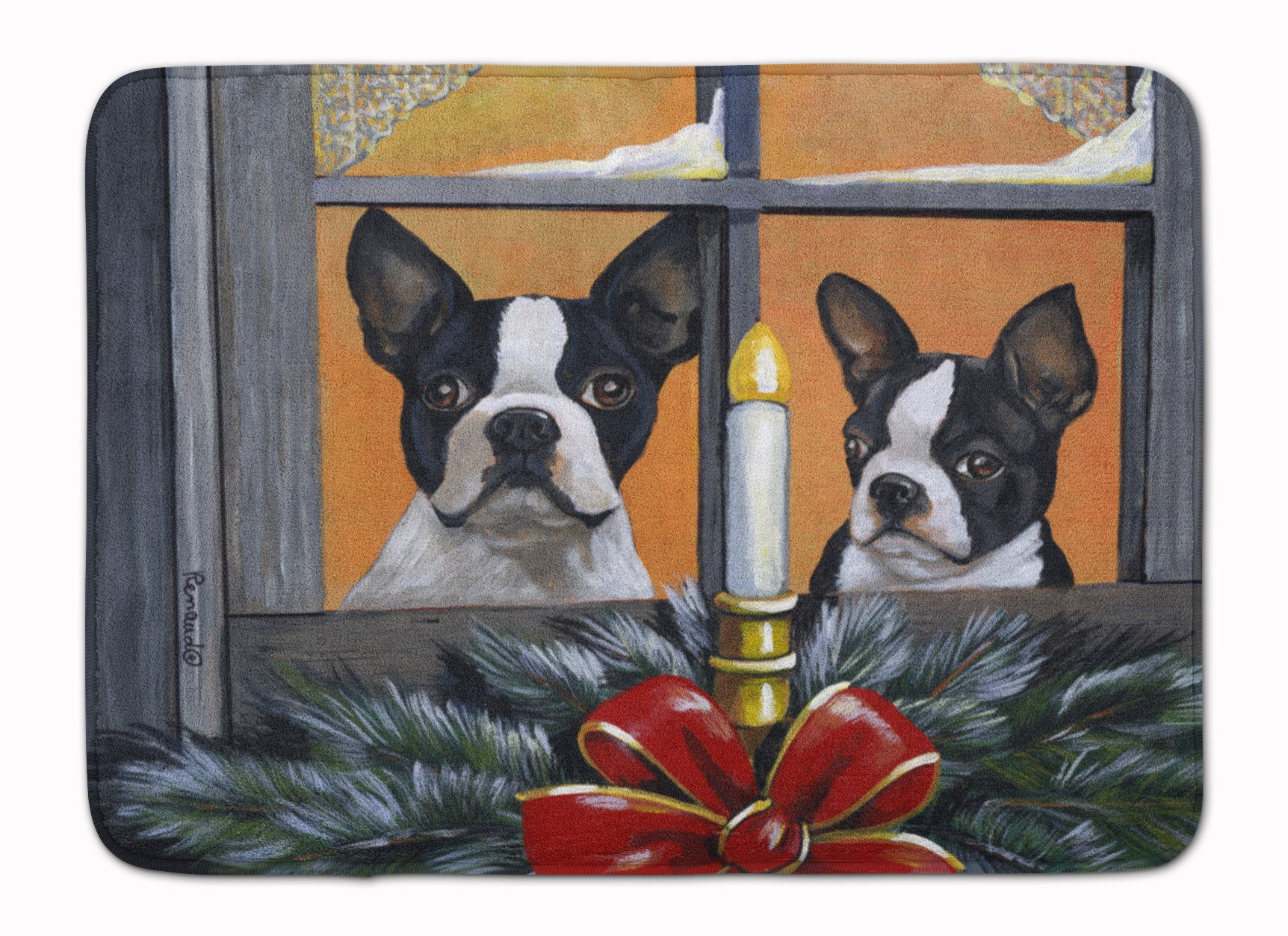 Buy this Boston Terrier Looking for Santa Christmas Machine Washable Memory Foam Mat PPP3248RUG