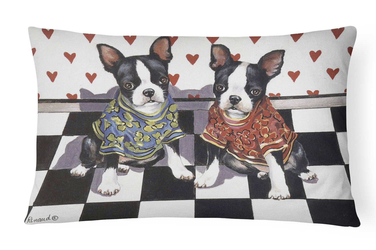 Buy this Boston Terrier Puppy Love Canvas Fabric Decorative Pillow PPP3249PW1216