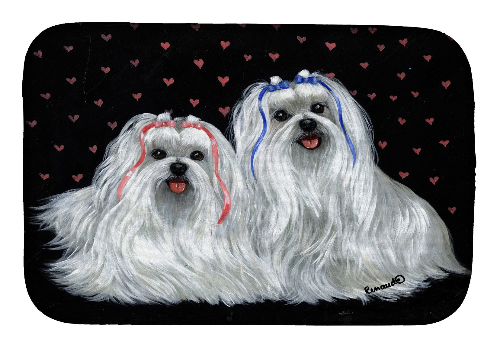 Maltese Sweethearts Dish Drying Mat PPP3263DDM by Caroline's Treasures