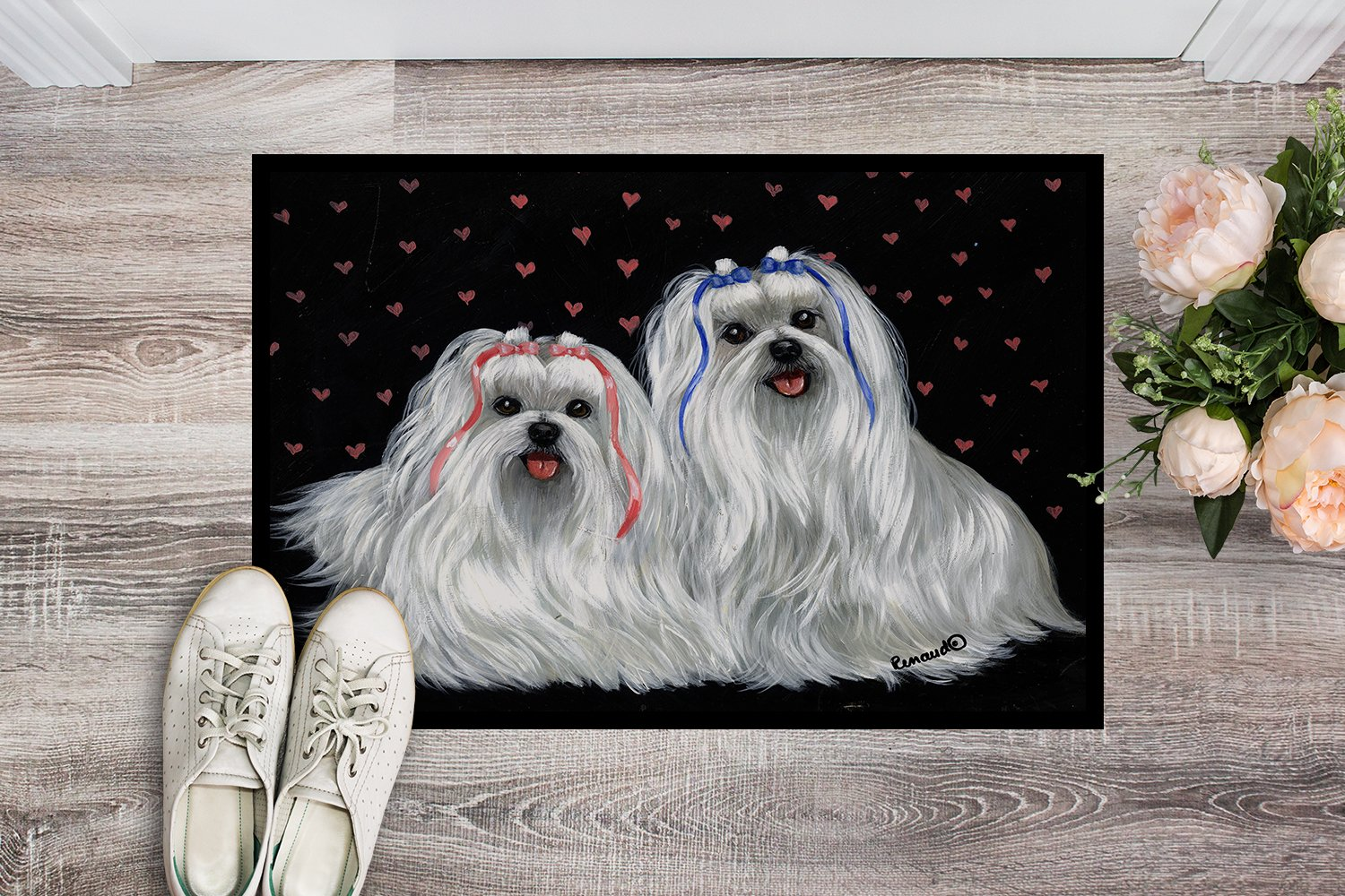 Maltese Sweethearts Indoor or Outdoor Mat 24x36 PPP3263JMAT by Caroline's Treasures