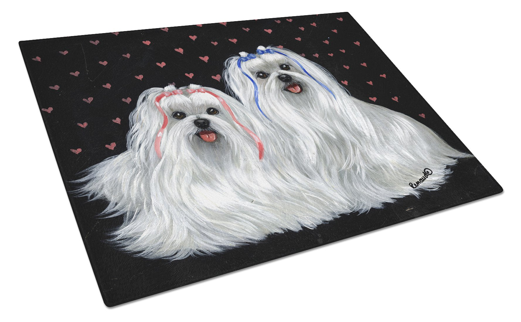 Buy this Maltese Sweethearts Glass Cutting Board Large PPP3263LCB