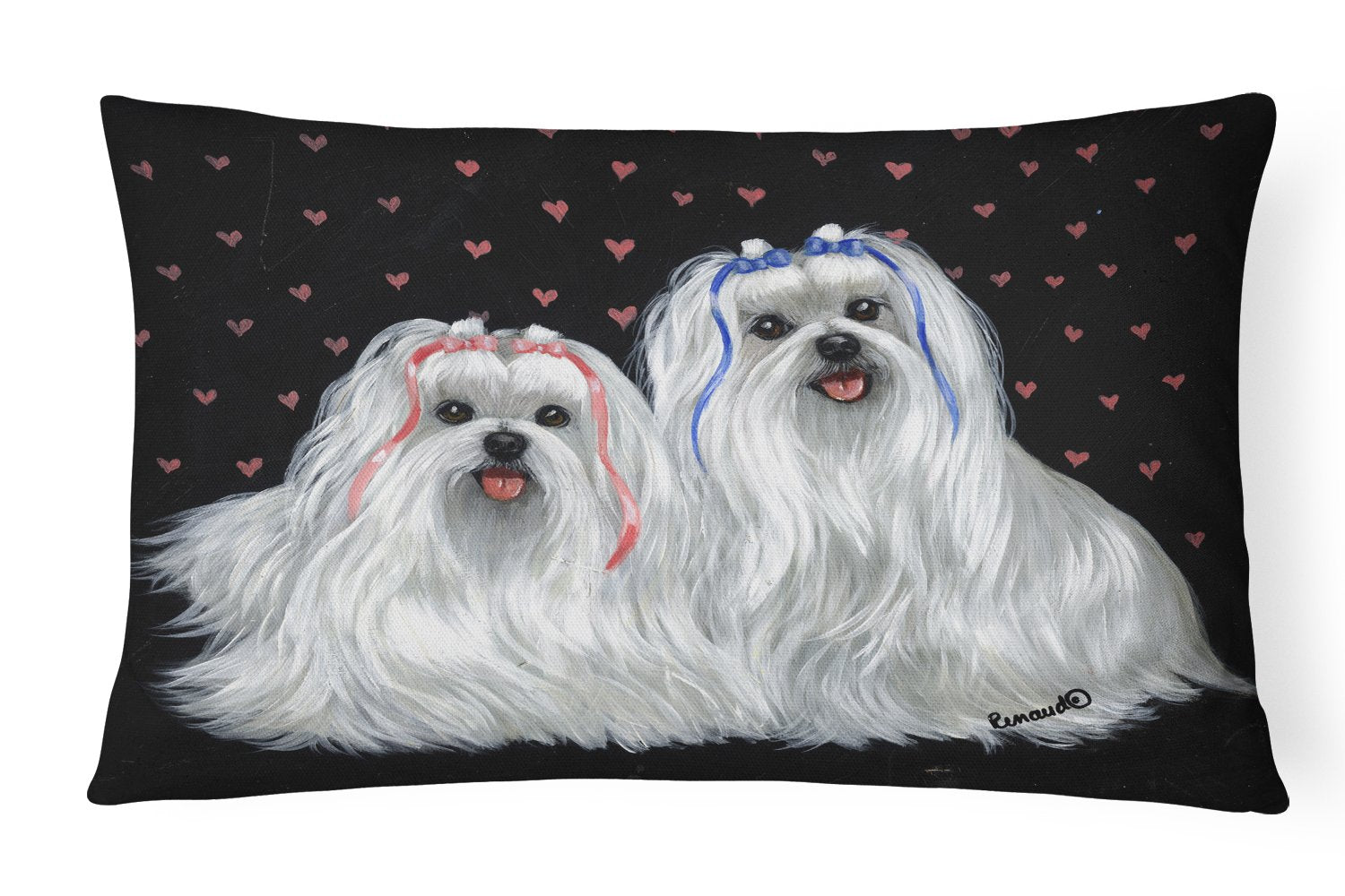 Buy this Maltese Sweethearts Canvas Fabric Decorative Pillow PPP3263PW1216