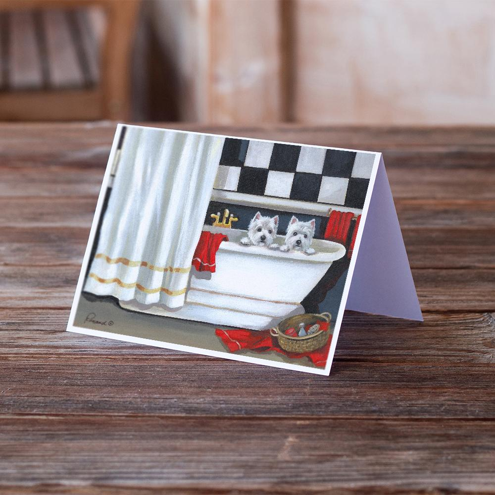 Buy this Westie Pour Le Bain Bathtime Greeting Cards and Envelopes Pack of 8