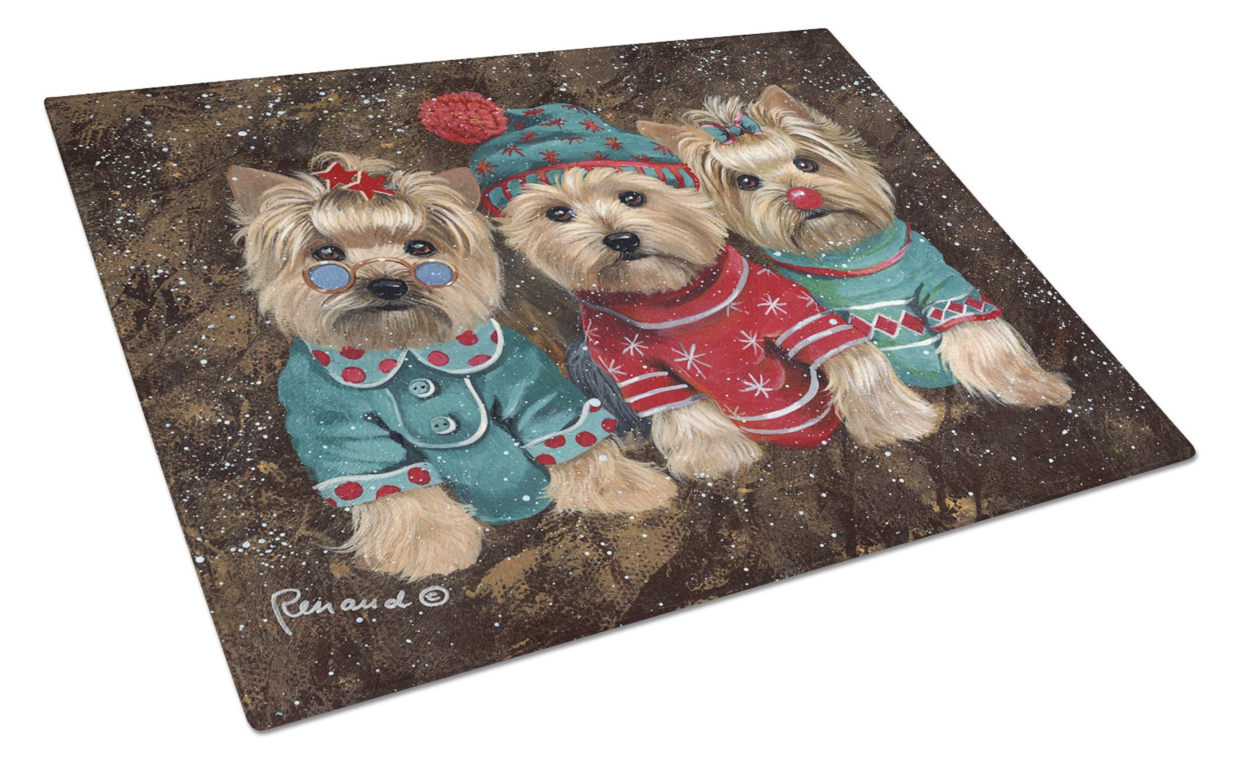 Buy this Yorkshire Terrier Yorkie Christmas Elves Glass Cutting Board Large PPP3291LCB