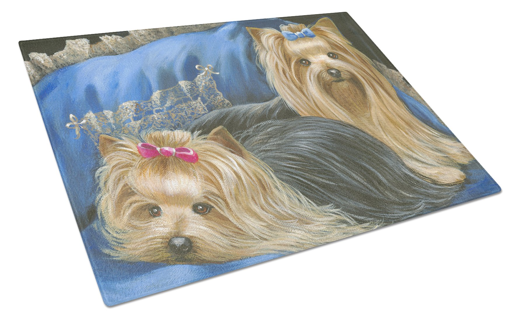 Buy this Yorkshire Terrier Yorkie Satin and Lace Glass Cutting Board Large PPP3293LCB