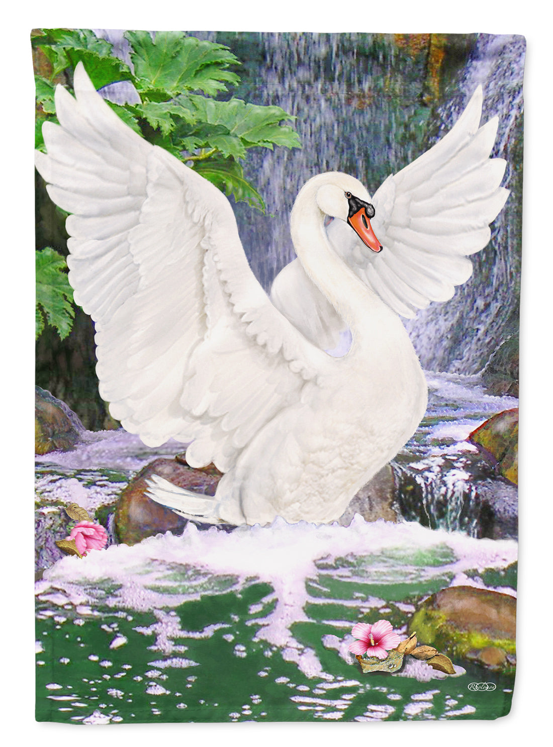 Swan Bathing at Waterfall Flag Canvas House Size PRS4001CHF by Caroline's Treasures