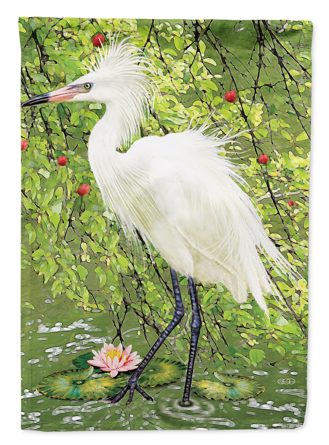 Snowy Egret Under Plum Tree Flag Canvas House Size PRS4002CHF by Caroline's Treasures