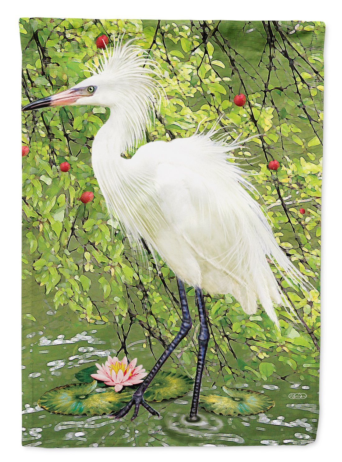 Snowy Egret Under Plum Tree Flag Garden Size PRS4002GF by Caroline's Treasures