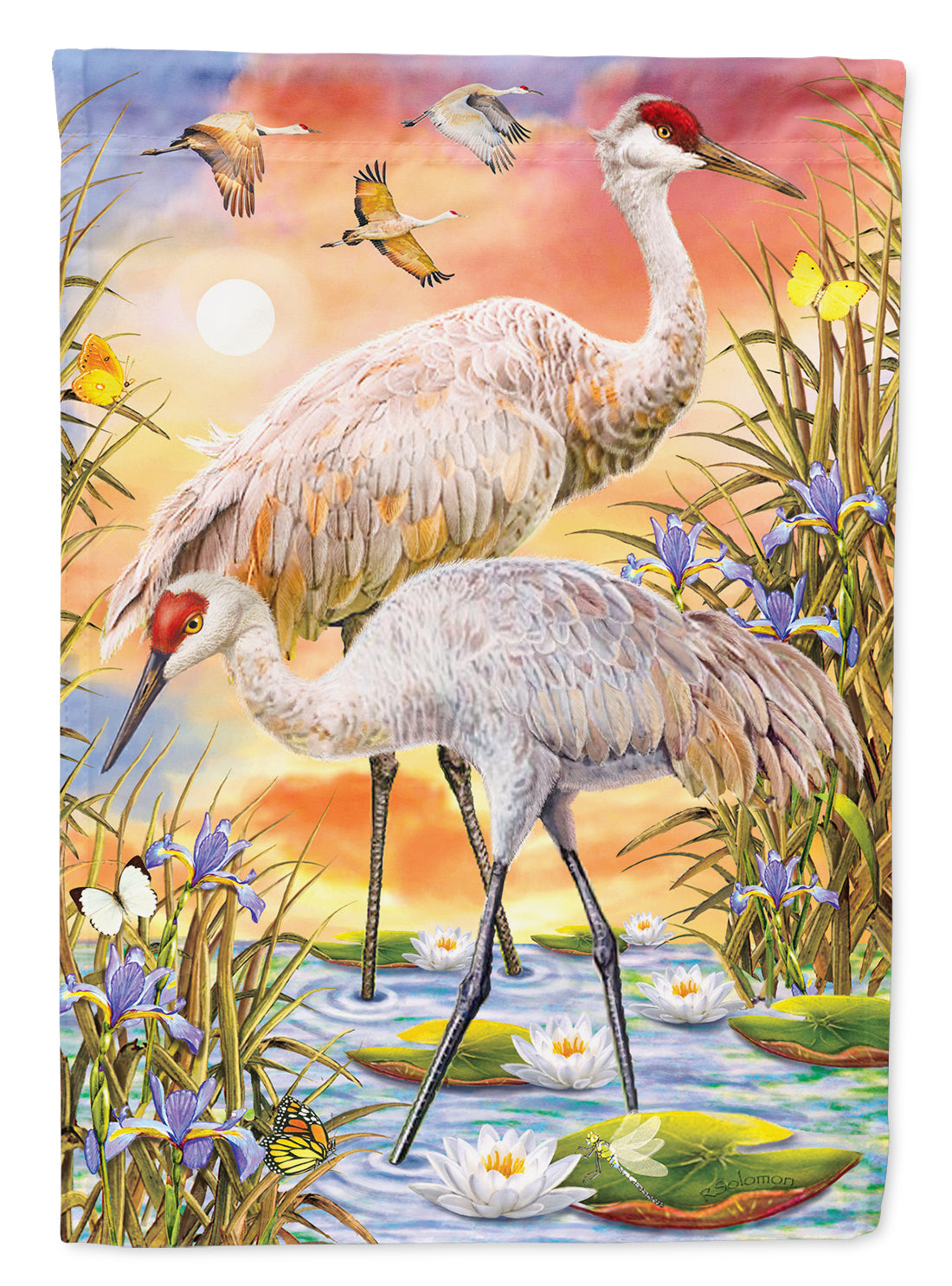Sandhill Cranes Flag Canvas House Size PRS4003CHF by Caroline's Treasures