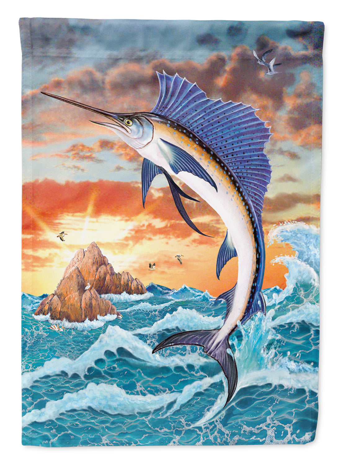 Sailfish at Sunset Flag Canvas House Size PRS4004CHF by Caroline's Treasures