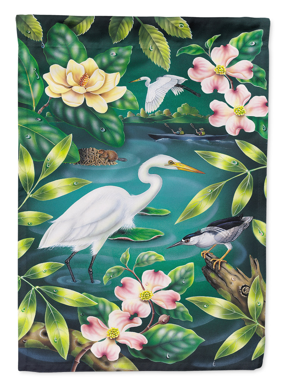 River Egret Flag Canvas House Size PRS4005CHF by Caroline's Treasures