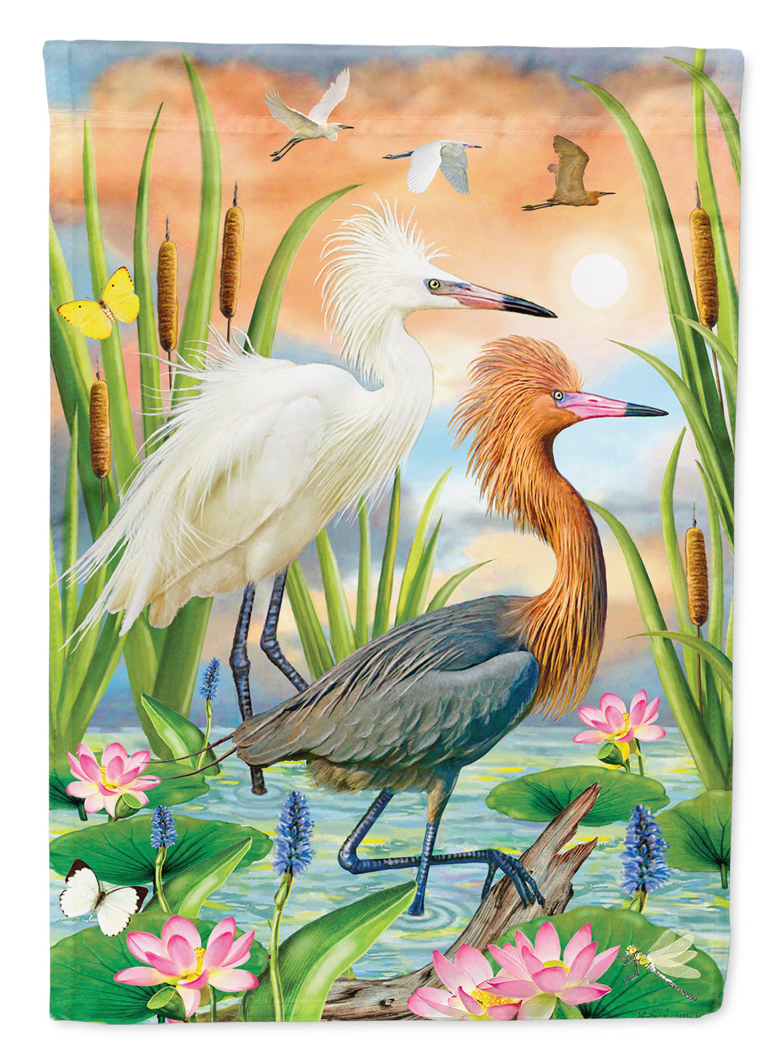 Reddish Heron Two Phases Flag Canvas House Size PRS4006CHF by Caroline's Treasures