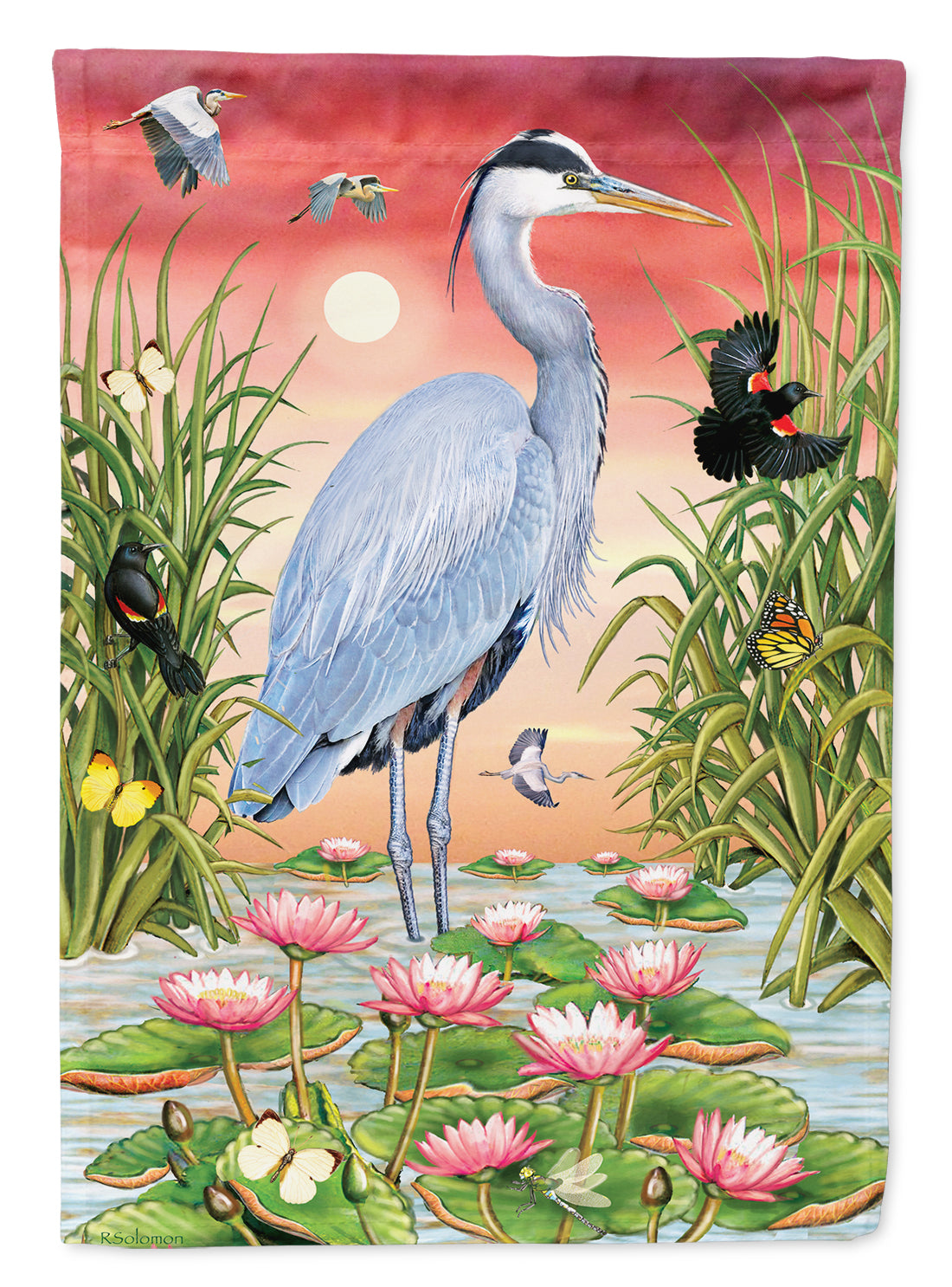 Great Blue Heron Flag Canvas House Size PRS4015CHF by Caroline's Treasures