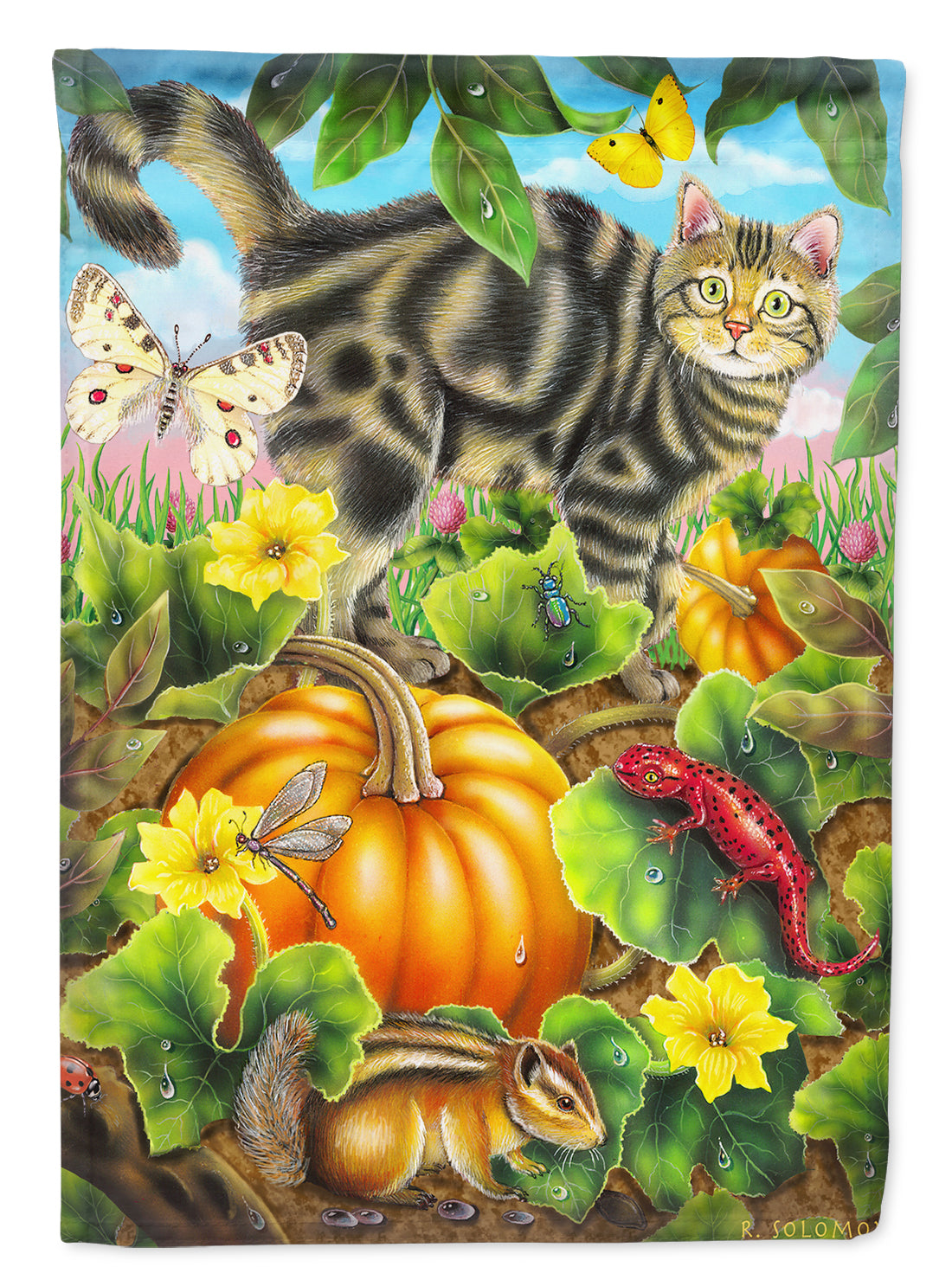 Cat Fuzzy in the Pumpkin Patch Flag Canvas House Size PRS4016CHF by Caroline's Treasures
