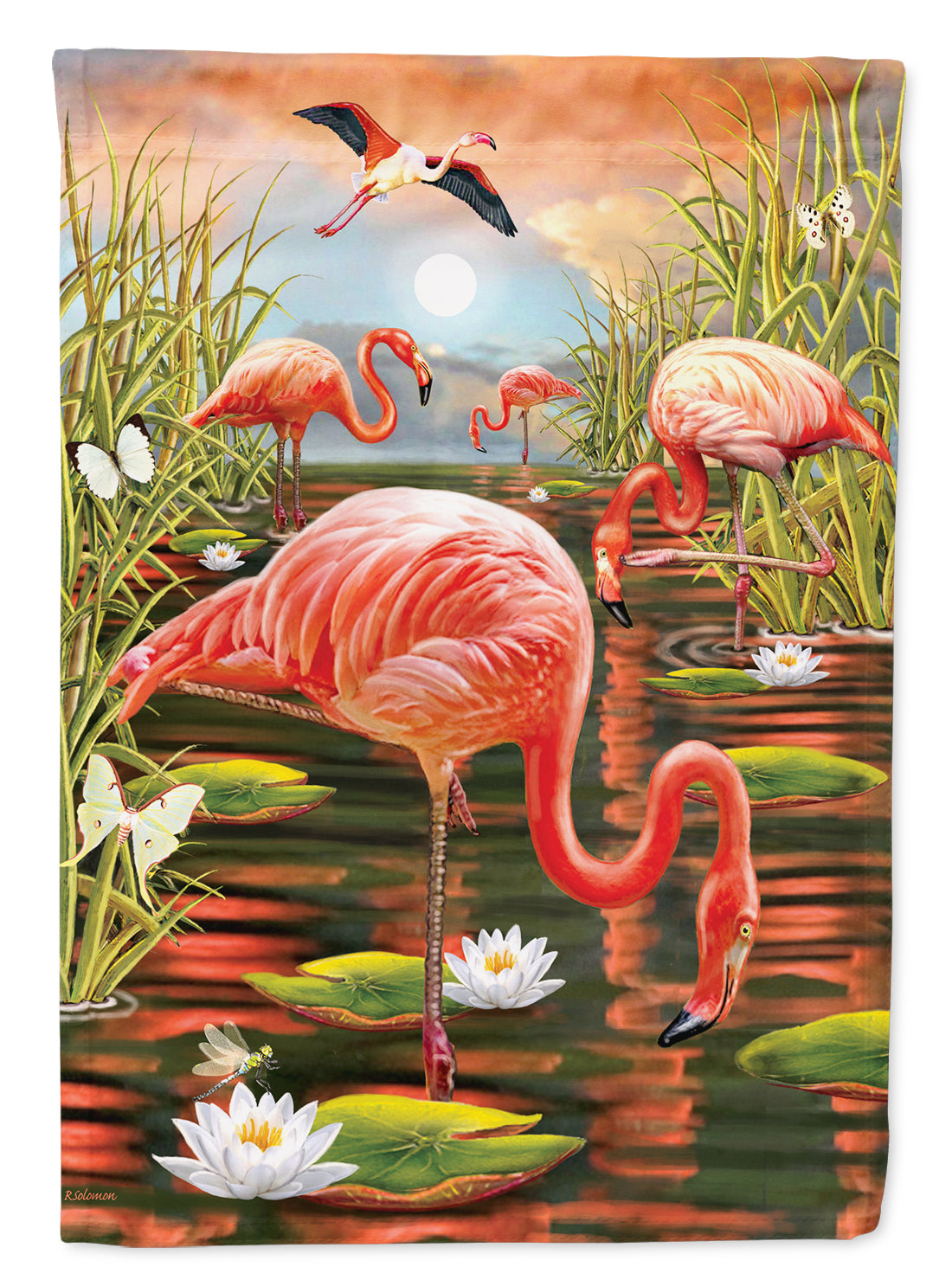 Flamingos Everywhere Flag Canvas House Size PRS4017CHF by Caroline's Treasures