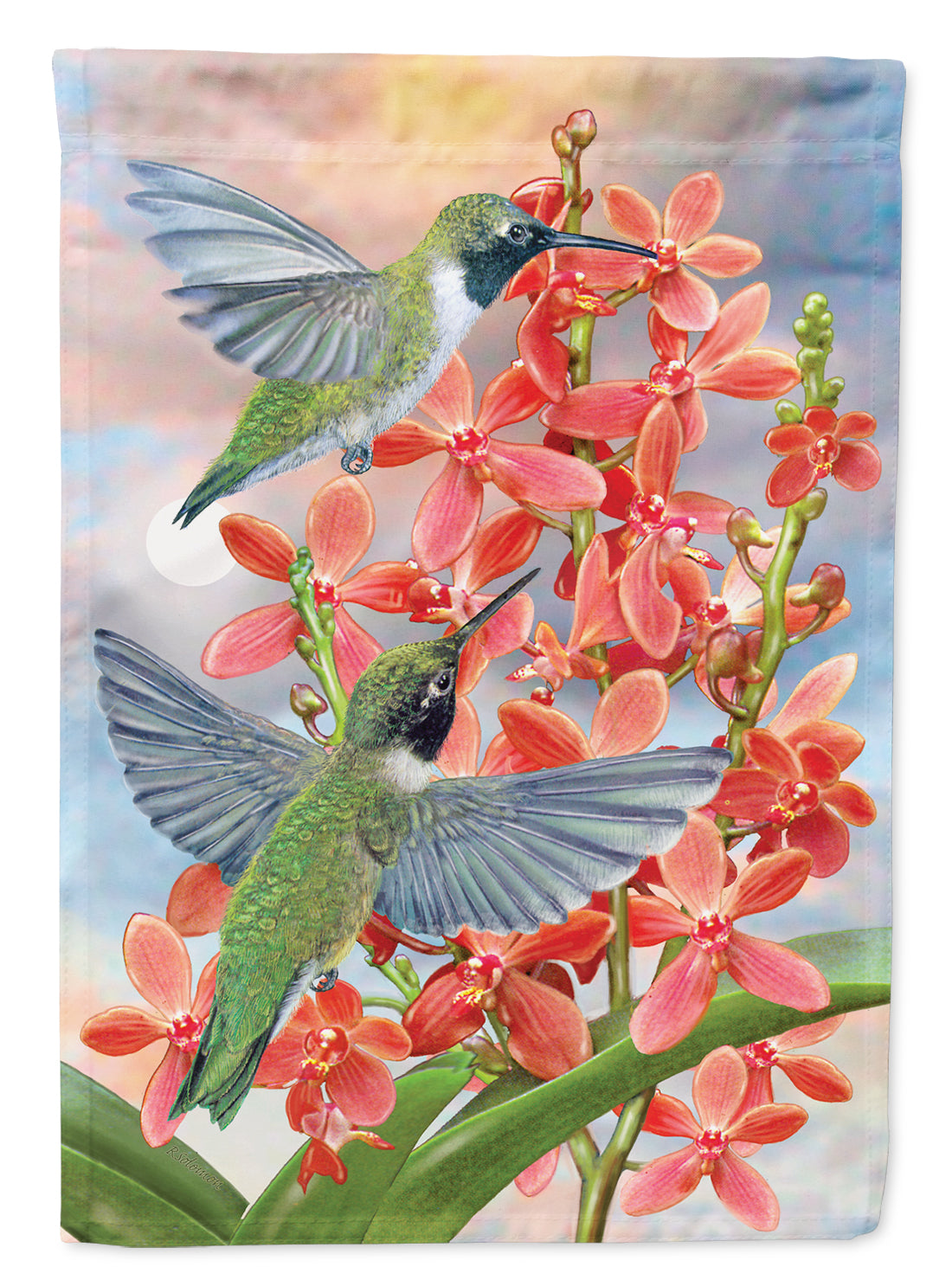 Black Chinned Hummingbirds Orchids Flag Canvas House Size PRS4020CHF by Caroline's Treasures