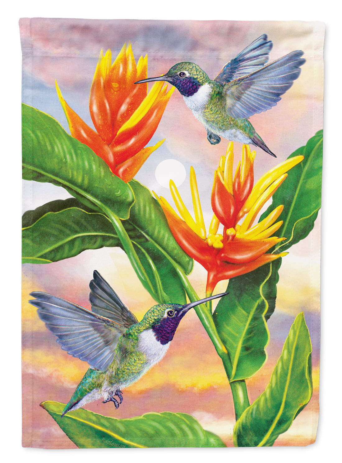Black Chinned Hummingbirds Golden Heliconia Flag Canvas House Size PRS4021CHF by Caroline's Treasures