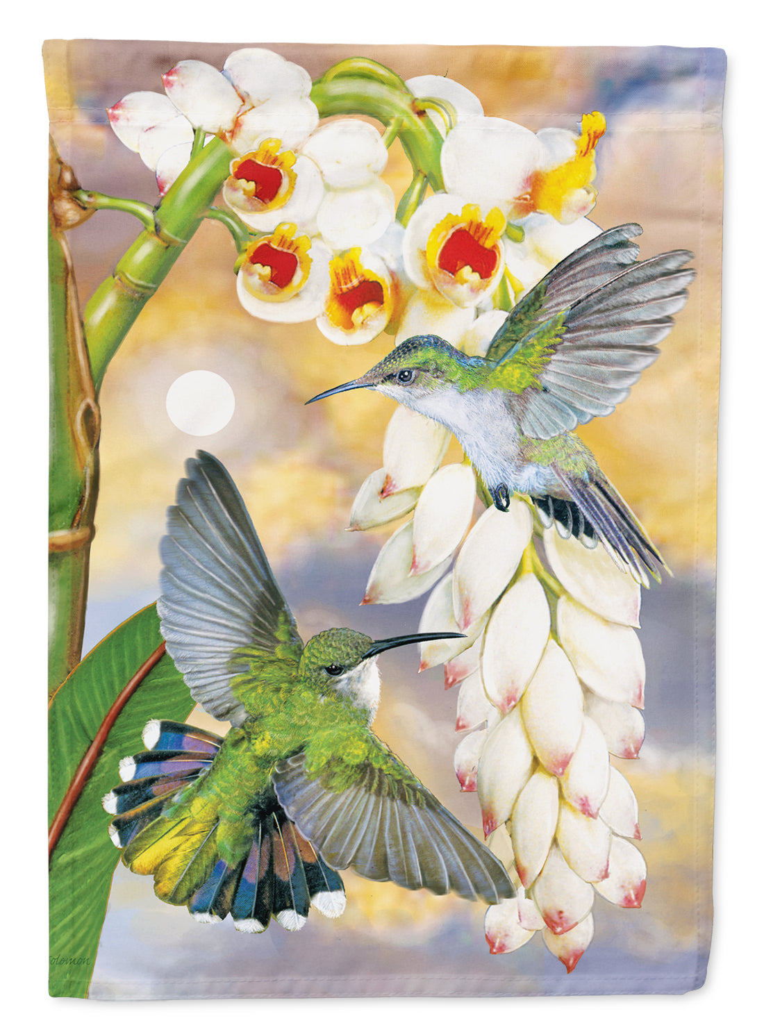 Antillaen Hummingbirds Shell Ginger Flag Canvas House Size PRS4022CHF by Caroline's Treasures