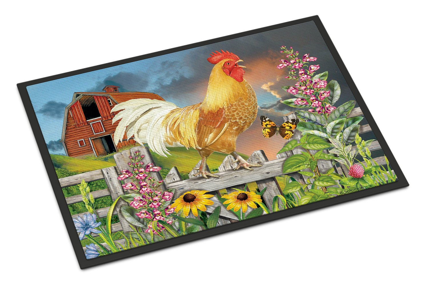 Yellow Rooster Greeting the Day Indoor or Outdoor Mat 24x36 PRS4024JMAT by Caroline's Treasures